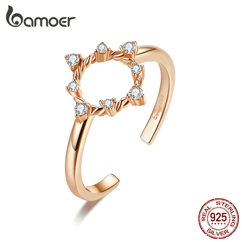 Bamoer Dazzling CZ Round Open Adjustable Finger Rings For Women Free Size 925 Sterling Silver 2020 New Fashion Jewelry BSR093