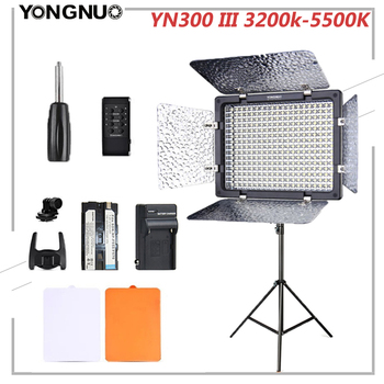 Yongnuo YN300 III 3200k-5500K CRI95 Camera Photo Automatic Dimming LED Video Light Optional with AC Power Adapter + Battery KIT travor tl 600a 2 4g kit bi color led video light 3200k 5500k for photography shooting three light 6pcs battery 3 light standing