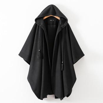 Women Winter Black Long Coat Ladies Cotton Fashion Cardigan Jackets Women-s  Hooded Cloak Capes Ponchos 2019 New 7479