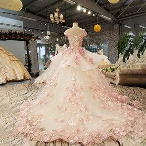 Image 2 - LS6669 цвет кружева 3d цветы вечернее платье колпачок рукав o образным вырезом зашнуровать вверх платье для бальное платье для прекрасной китайской оптовой продажи