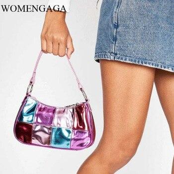 Bolso pequeño para mujer, de un solo hombro, bolso de señora Baguette, de charol, Vintage, bajo el brazo, bolsa de mensajero Hj98