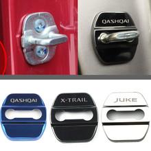 Samochód stylizacji obudowa do zamka drzwi samochodu znaczki samochodów Case dla Nissan juke qashqai j11 10 x-trail uwaga tiida nismo Car Styling tanie tanio 5 8cm Chrom stylizacja STAINLESS STEEL 0 05kg car door lock cover for nissan 4 4cm Fit for Nissan 0 5cm