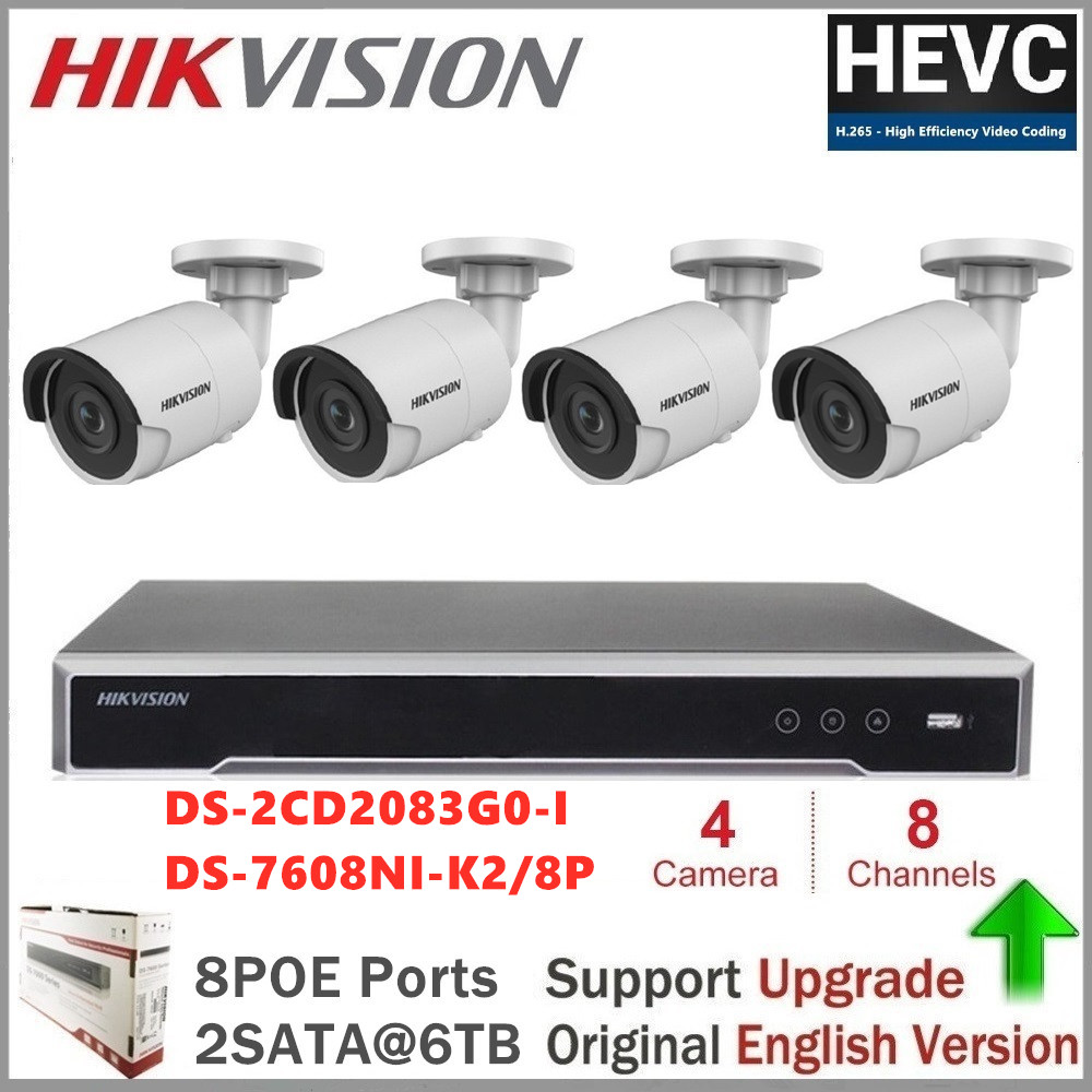 Hikvision Kits de caméras de vidéosurveillance caméra IP à balle 8MP (4 K) PoE maison/extérieur étanche vidéo CCTV Surveillance de sécurité Vision nocturne