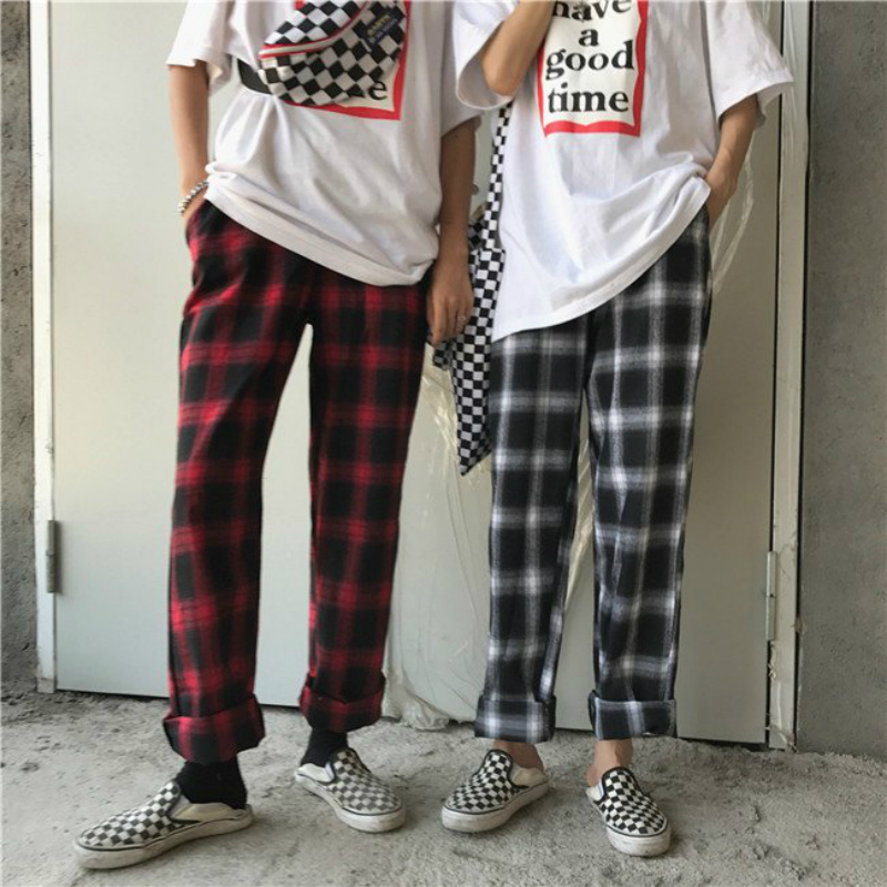 Plaid Pants Men Hip Hop Pants Streetwear Summer Loose Lightweight Elastic Waist Ankle-Length Trousers Black Red