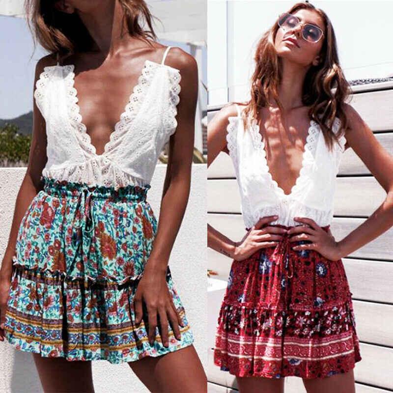 פרחוני הדפסת קפלים חצאיות נשים אביב קיץ 2020 מיני ארוך קוריאני אלגנטי גבוהה מותן אונליין שמש חצאיות נשי בגדים