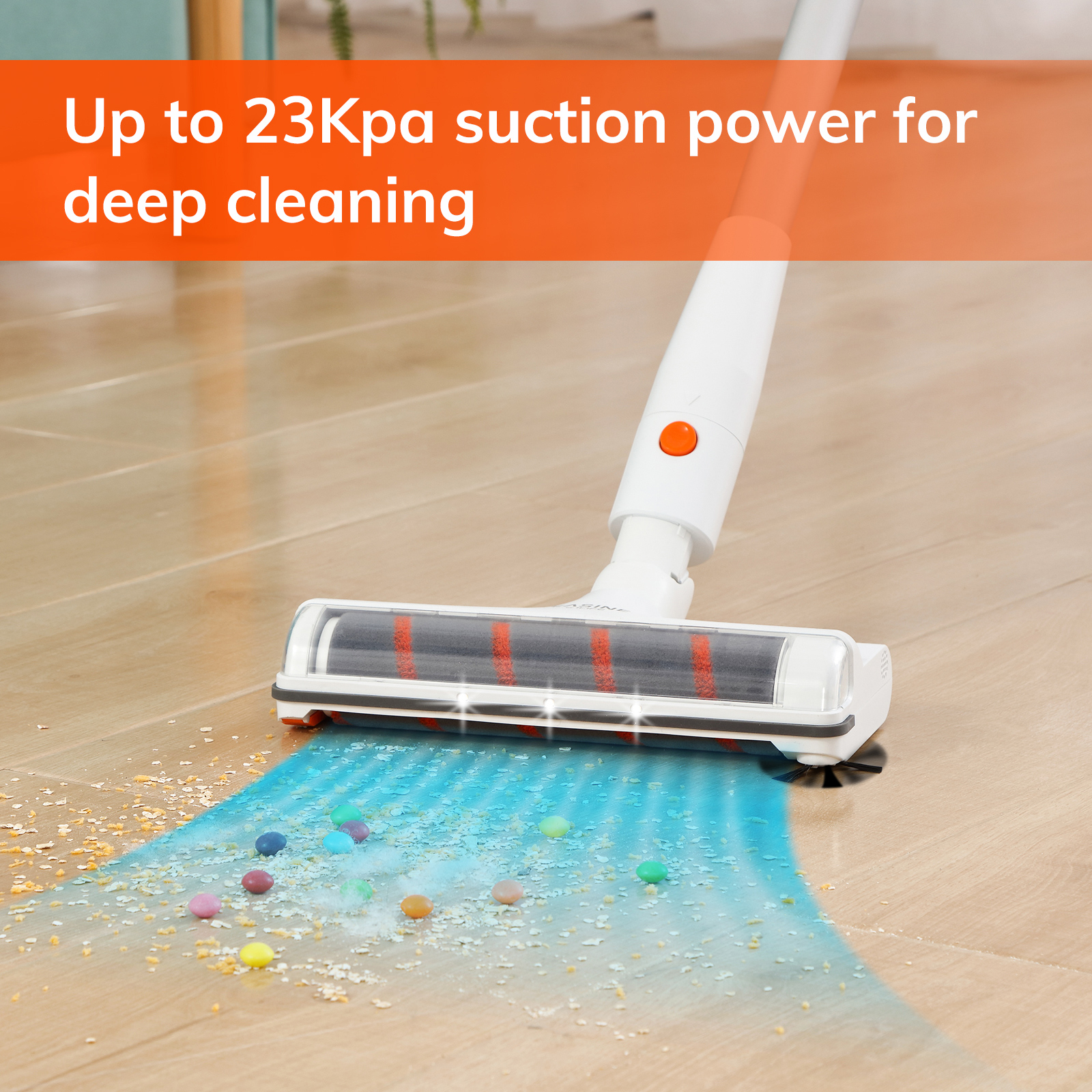 EASINE by ILIFE G80 Handheld Wirelessly Vacuum Cleaner, 23000Pa Powerful Suction, LED display, 45mins Runtime, unique Side Brush