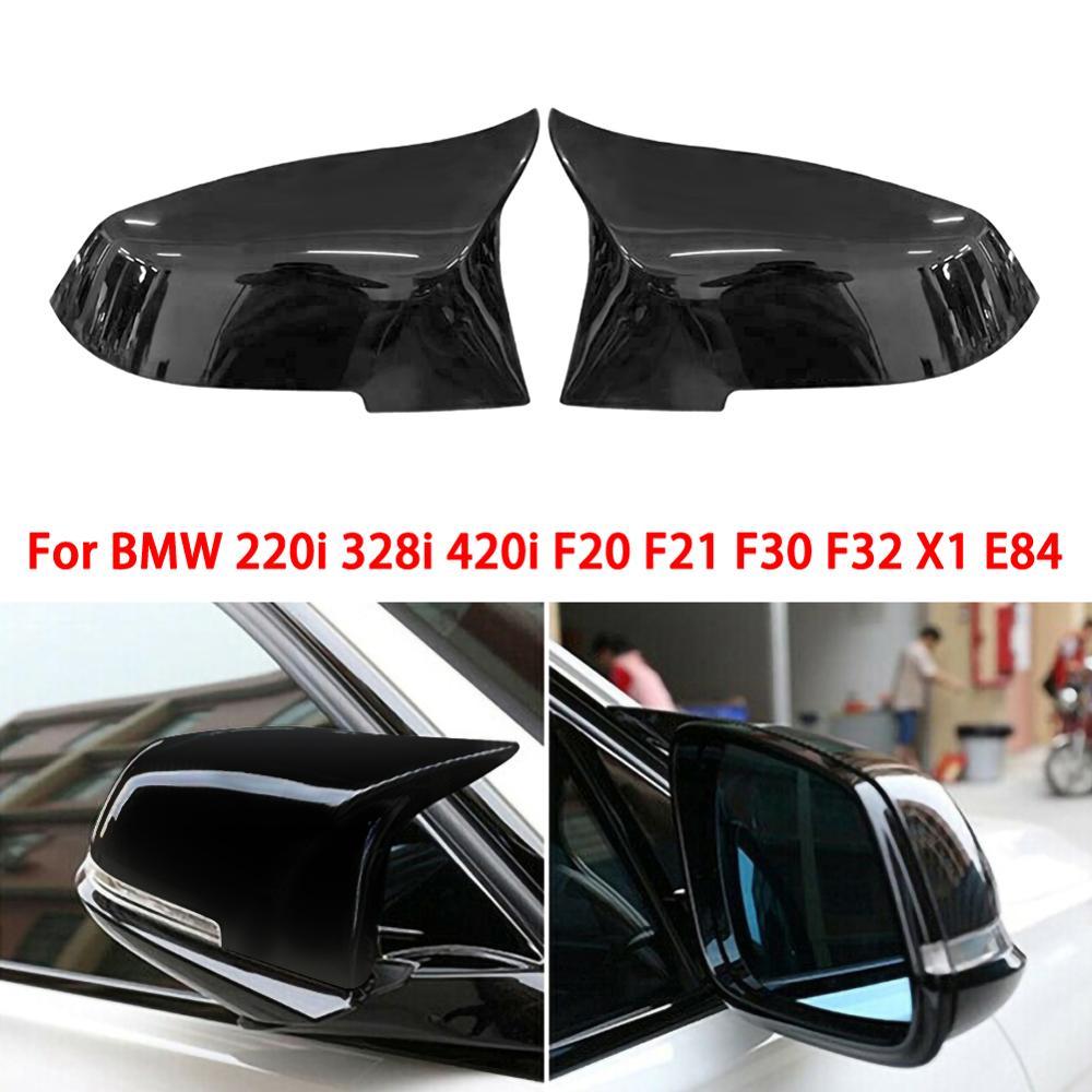 1 çift dikiz aynası kapak yan kanat dikiz aynası kılıf kapakları için parlak siyah BMW F20 F21 F22 F30 F32 f36 X1 F87 M3
