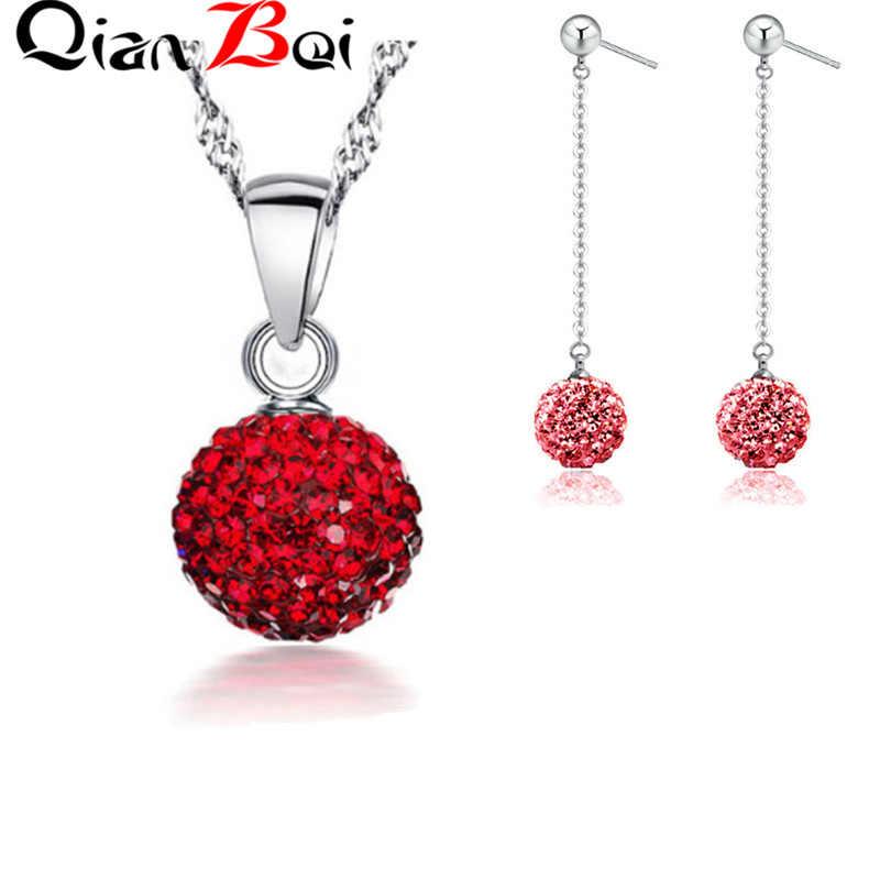 QianBei 13 צבע 10MM תליון שרשרת כדור קריסטל Stud שרשרת סט לנשים תכשיטים מתנות
