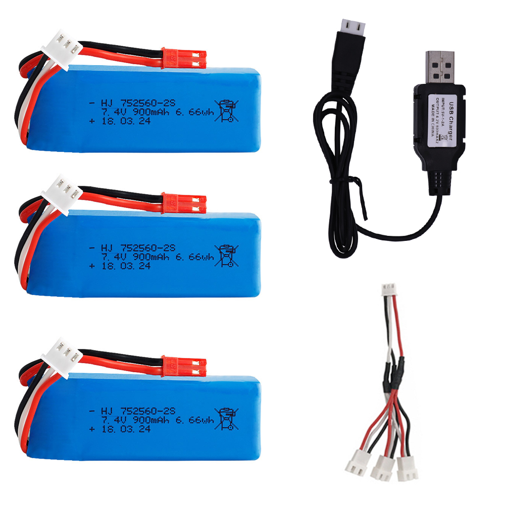 Battery with charger set for XK X520 XK X420 RC Airplane Spare Parts <font><b>7.4V</b></font> <font><b>900mAh</b></font> Lipo Battery JST Plug for WLtoy X520 helicopter image
