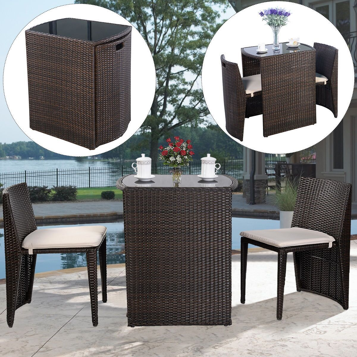 Costway 3 PCS Cushioned Outdoor Wicker Patio Set Garden Lawn Sofa Furniture Seat Brown