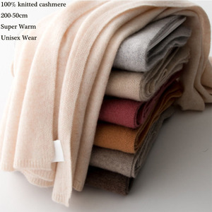 New 100% Pure Cashmere Scarf Women Knitted Winter Autumn Long Warm Wool Wrap Pashmina Shawl Neck Men Unisex Écharpe Femmes