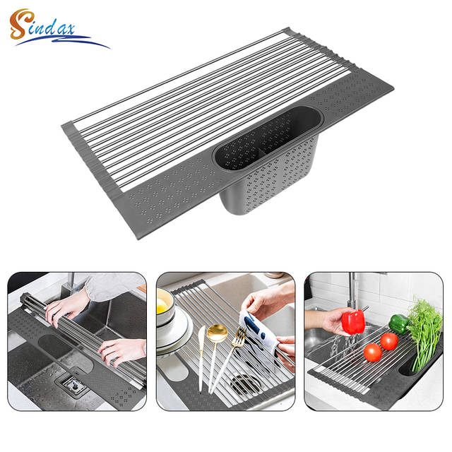 Dish Drainer Over Sink For Kitchen Organizer Multi-Use Roll-up Drying Foldable Rack  Fruit Vegetable Meat Mat Dropship