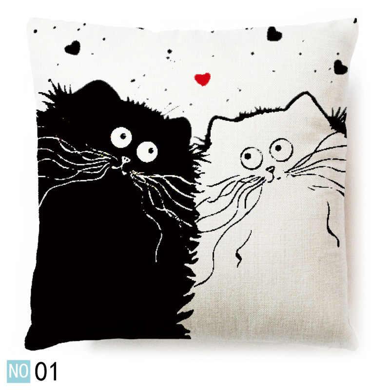 Vintage blanco y negro gato perro algodón Linda almohada sofá cojín para cintura cubierta hogar coche Decoración