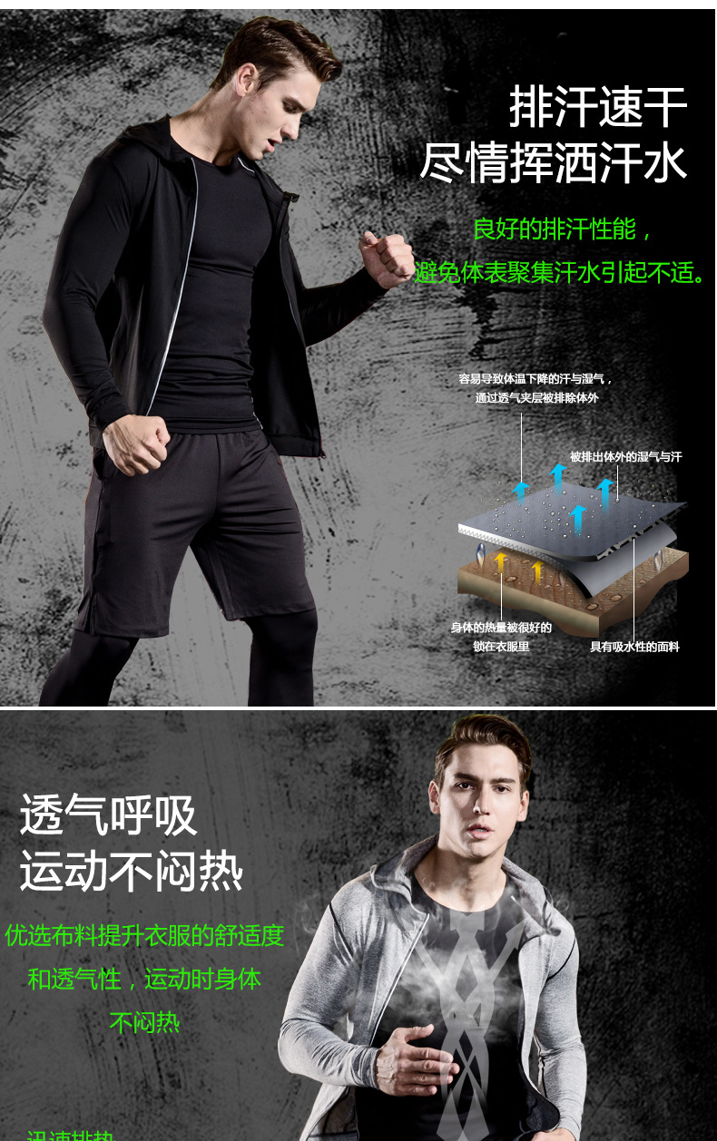 Foto of structure 5 pcs compressions clothes for gym. Men's 5 pcs compression tracksuit sports black color