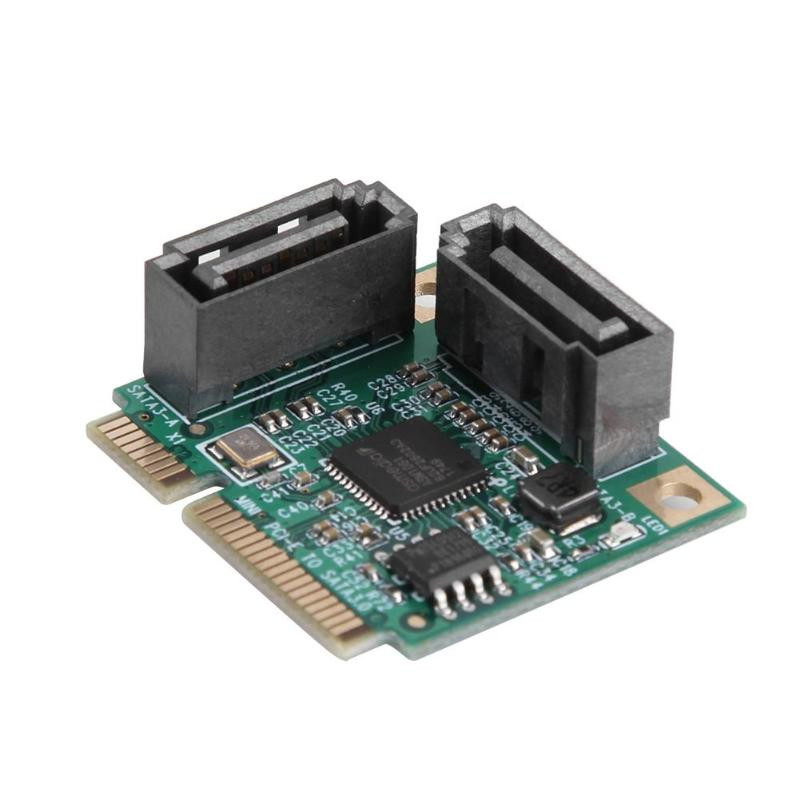 2 Ports Add On <font><b>Cards</b></font> Mini <font><b>PCI</b></font>-<font><b>E</b></font> <font><b>PCI</b></font> Express to <font><b>SATA</b></font> Cable 3.0 Converter Hard Drive Extension <font><b>Card</b></font> Computer Components High Speed image