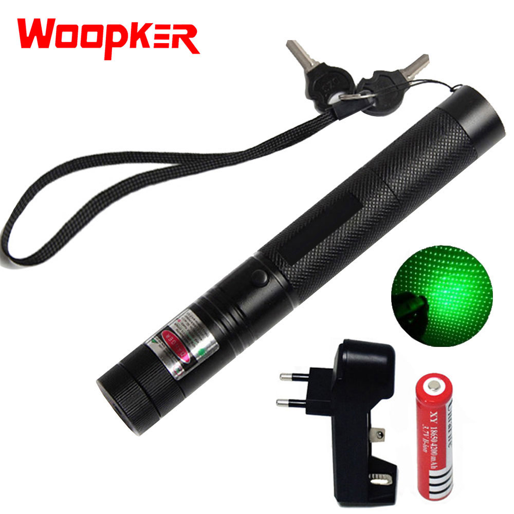 Hunting 5mw Green Laser Pointer High Powerful Sight Adjustable Focus Lazer 303 Pen Head Burning Match With Charger+18650 Battery