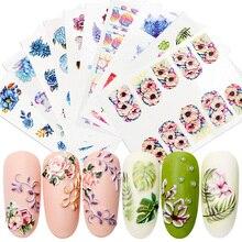 RBAN ногтей 3D акриловый выгравированный цветок стикер для ногтей тисненые Цветочные наклейки для ногтей Водные Наклейки эмпаистические самодельные Украшения для ногтей инструменты для дизайна ногтей