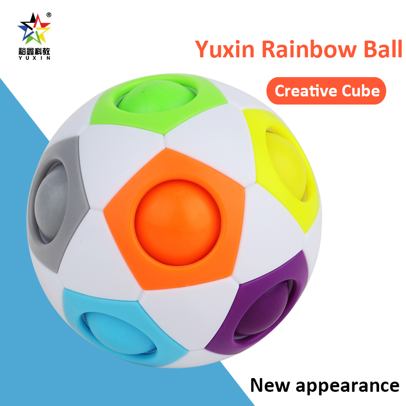 Fun Creative Spherical Magic Cubes Speed Rainbow Football Ball Children Kids Magic Rainbow Cubes Learning Education Puzzle Toys