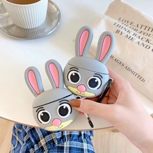 3D Silicone Earphone Case For Airpods 2 lovely Rabbit Animal Cartoon Headphone Cover Apple Air pods with Ring