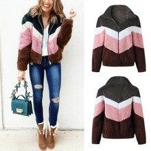 Women Color Matching High Collar Long Sleeve Zipper Coat Casual Warm Winter Autumn Outerwear Loose Tops