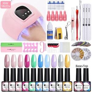 Маникюрный набор UR SUGAR, светодиодный набор для ногтей с лампой для ногтей, 36 Вт, СВЕТОДИОДНЫЙ УФ-лампа для сушки с 20 гель-лаками для ногтей, от...