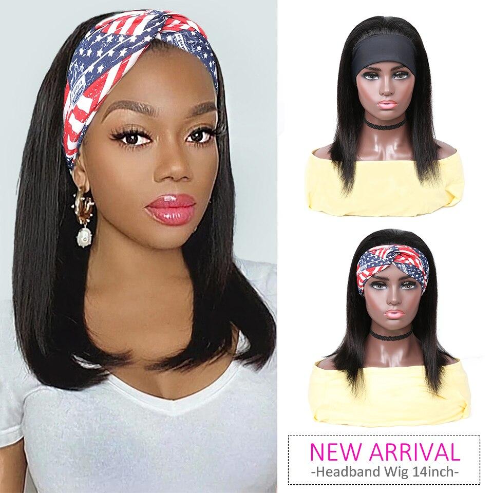 YYong Straight Short Bob Headband Wigs With Scarf 100%  Wig 8-18inch Glueless Full Machine HeadBand Wig Natural Color 2