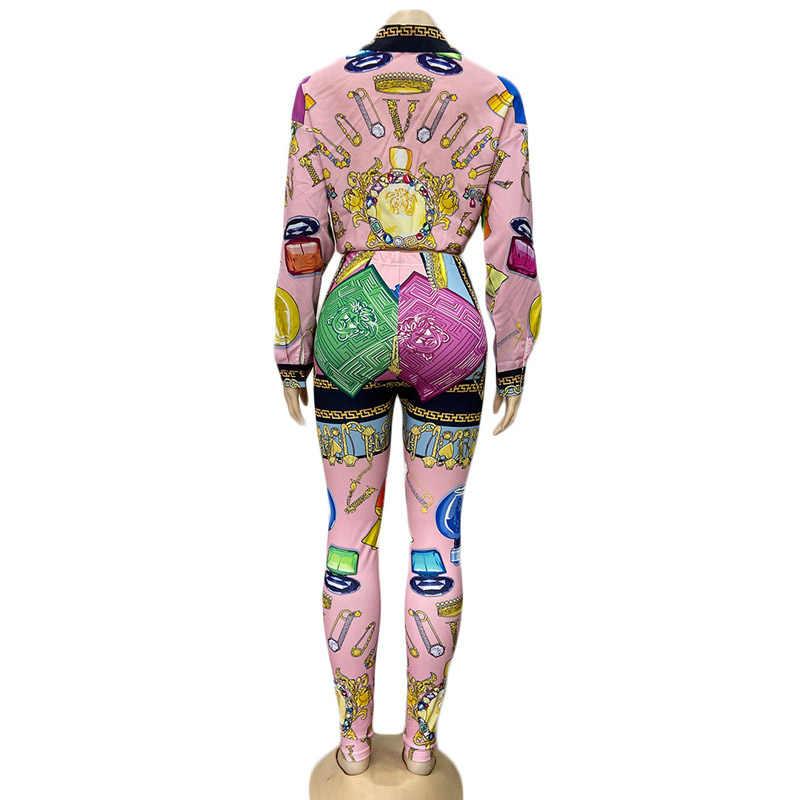 Kricesseen カジュアルプリント二枚女性のボタンアップトップと長ズボンスーツマッチングセットツーピースの衣装