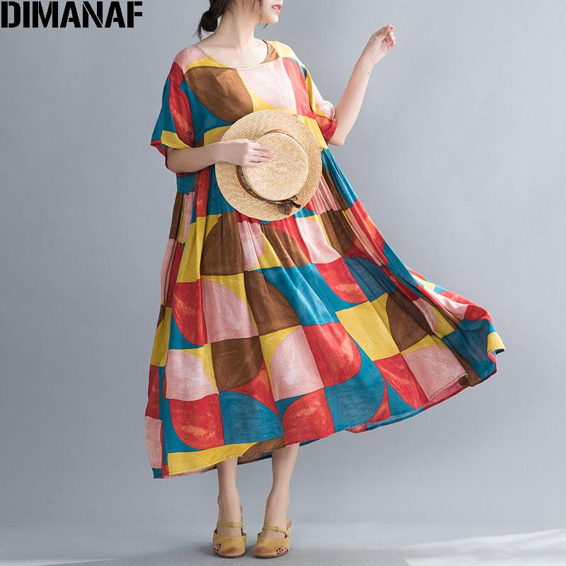 DIMANAF Oversize Women Dress Summer Sundress Beach Style Lady Vestidos Cotton Casual Loose Plus Size Print Dress Clothing 2020