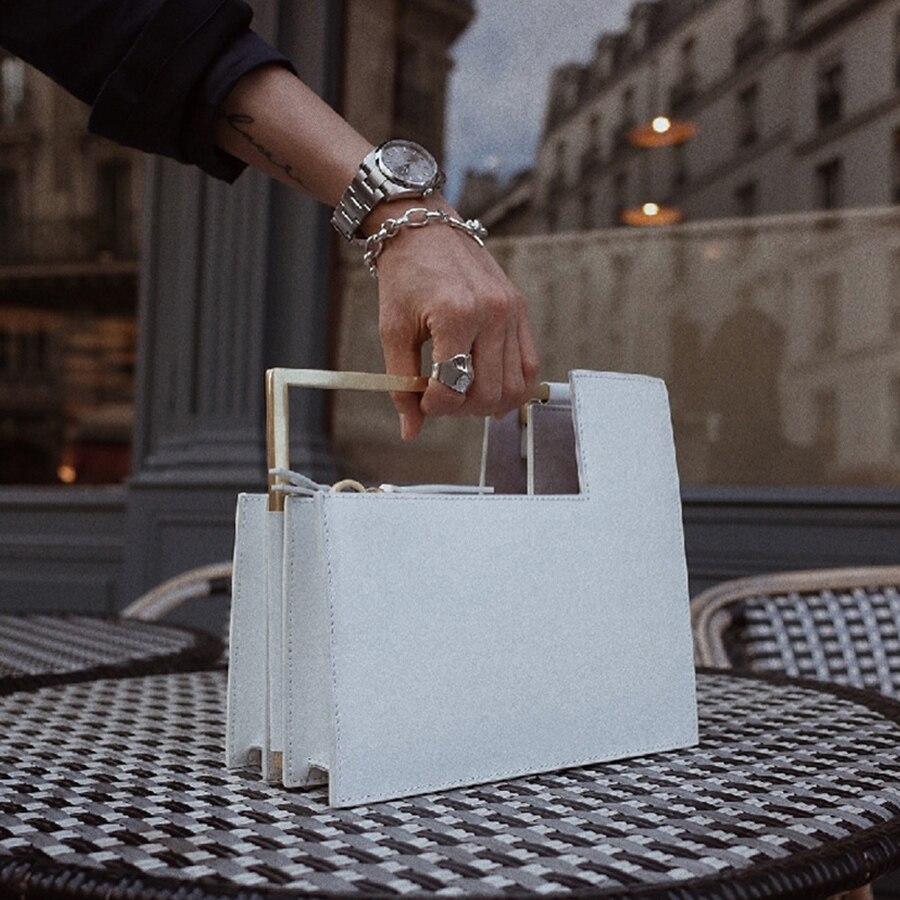 Fashion Metal Handle Box Women's Handbags Casual Organ Design Pu Women Shoulder Bags Luxury Messenger Crossbody Bag Ladies Totes