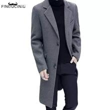 FINGUCINIU Men's windbreaker medium long woolen coat men's Korean slim fashion woolen coat Winter Youth thickened jacket