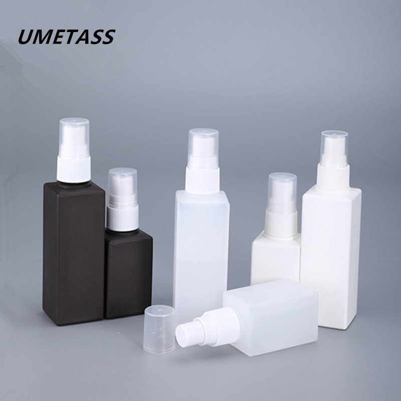 UMETASS Square Fine Mist Spray Bottle 50ML 100ML PE Plastic Cosmetic Containers Empty Travel Bottles 1PCS