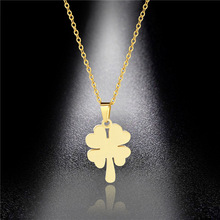 Titanium Steel Clavicle Necklace New Personality Simple Four-leaf Clover Pendant Pendant Jewelry Female Factory Direct Sales недорого