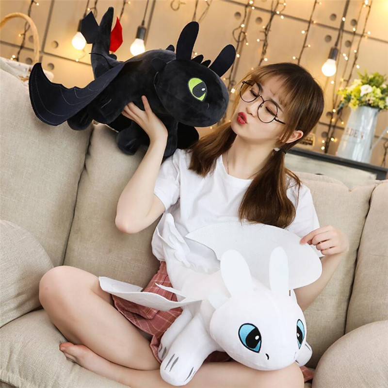35/45/60cm How To Train Your Dragon 3 Toothless Anime Figure Night Fury Light Fury Toys Dragon Plush Doll Toys For Children