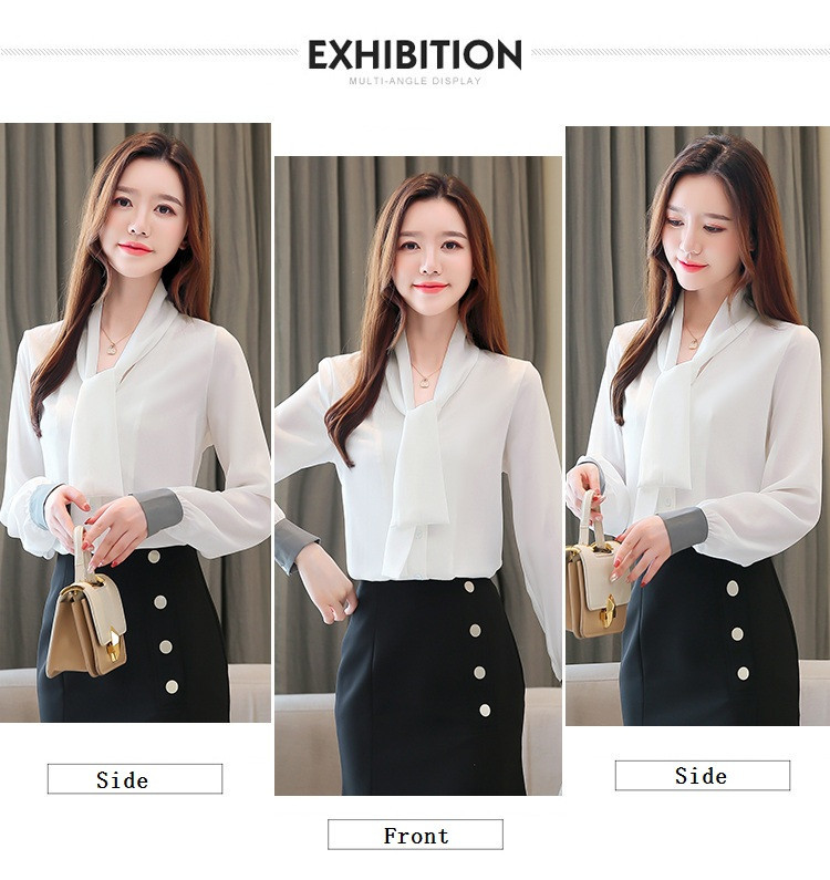 2020 Spring New Women's Plus size 2xl Long sleeve Solid Chiffon Blouse Korean Loose Lace up Long sleeve Shirt 0ffice lady Tops