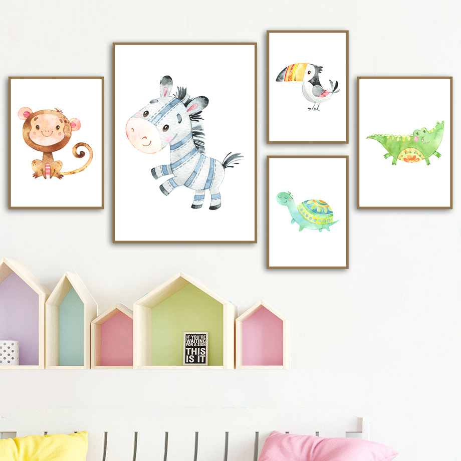 Giraffe Lion Flamingo Elephant Animal Wall Art Print Canvas Painting Nordic Posters And prints Pictures Baby Kids Room