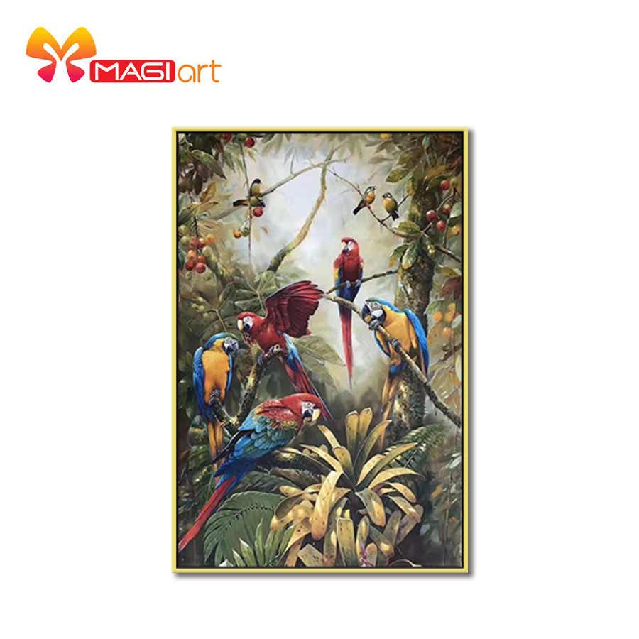 Kruissteek Kits Borduren Handwerken Sets 11CT Water Oplosbare Canvas Patronen 14CT Dier Papegaaien In De Forest-NCMA053