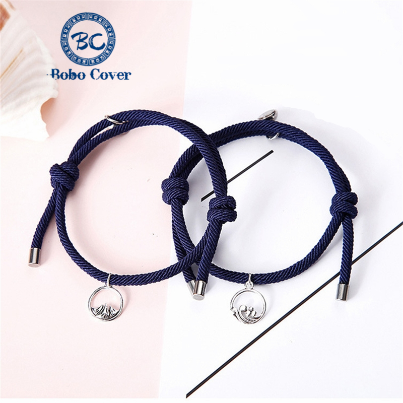 A pair of braided rope charm couple bracelets Mountain ocean Pendant accessories eternal love Lover jewelry gifts Dropshipping