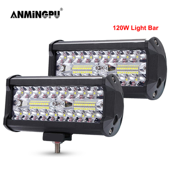 ANMINGPU 4 7 60W 120W LED Light Bar for Truck Car Tractor SUV 4x4 Boat ATV Combo LED Bar Work Light Offroad  Driving Fog Lamp co light 12d 3 row car led light bar combo 32 405w led work light for tractor truck atv jeep led bar offroad auto driving light