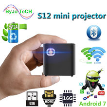 Byjotech s12 mini projetor suporte 1080 p dlp portátil wifi bluetooth led bateria casa beamer android 7.1.2 os hdmi proyector