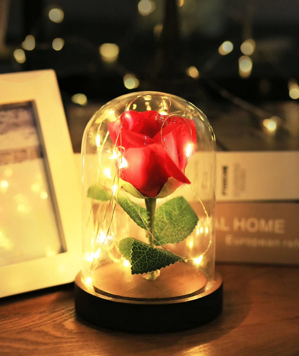 LED Fairy Light Eternal Flower Valentine's Gift Wedding Party Indoor Decoration Holiday Event Rose Dome Bell Ja Lighting