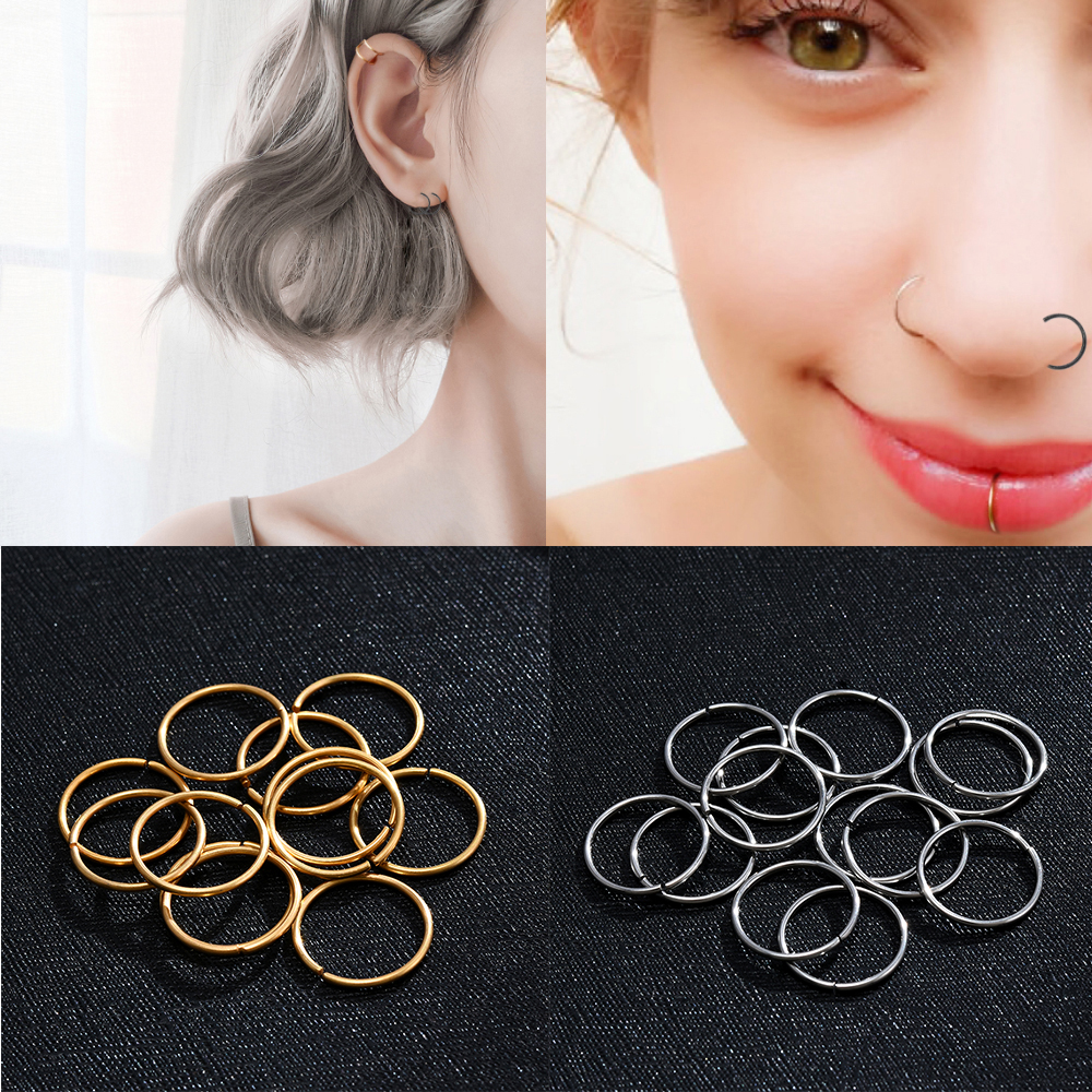 Hoop Earrings Fashion Simple Luxury Round Stud Earrings Or Nose Ring Women Crystal Geometric Jewelry Accessories Gifts For Women