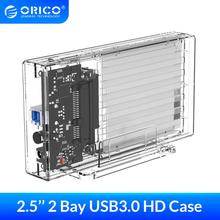 ORICO 2 Bay 2.5'' Transparent Hard Drive Enclosure SATA to USB 3.0 HDD Case Support UASP for 7-9.5 mm HDD SSD With 5V2A Adapter