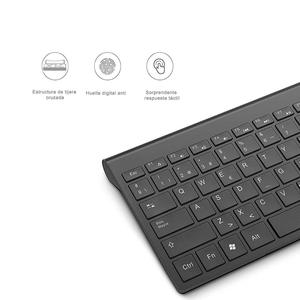 Image 4 - Spanish wireless keyboard and mouse combination, 2.4 gigahertz stable connection rechargeable battery, portable mute black