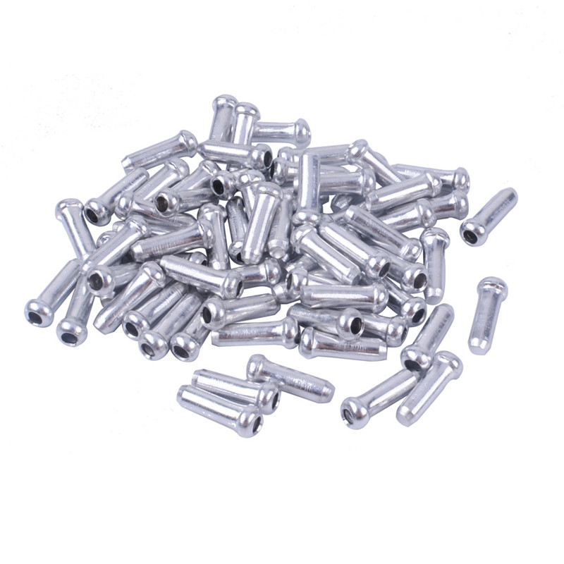 100 BICYCLE BIKE SHIFTER BRAKE CABLE TIP CAP END CRIMPS SILVER DURABLE