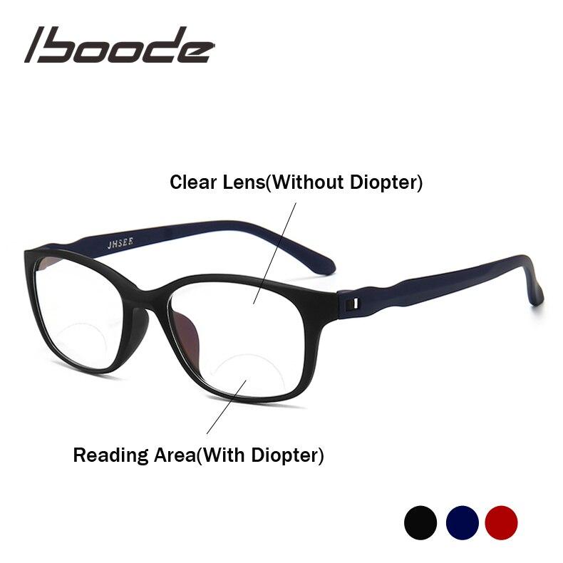 Iboode Bifocal Reading Glasses Men Anti Blue Rays Presbyopia Eyeglasses Antifatigue Computer Eyewear +1.5 +2.0 +2.5 +3.0 +3.5 +4
