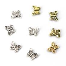 50 pçs 10.5x8.5 tibetano prata ouro borboleta charme espaçador solta contas de metal para fazer jóias encontrar acessórios atacado