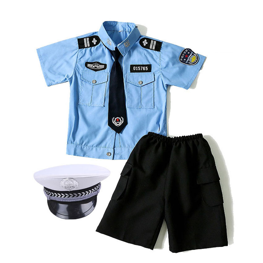 110-160cm Kids Police Officer Cosplay Costume Carnival Party Fancy Clothing Set Children's Day Wear Girls Policewoman Uniform