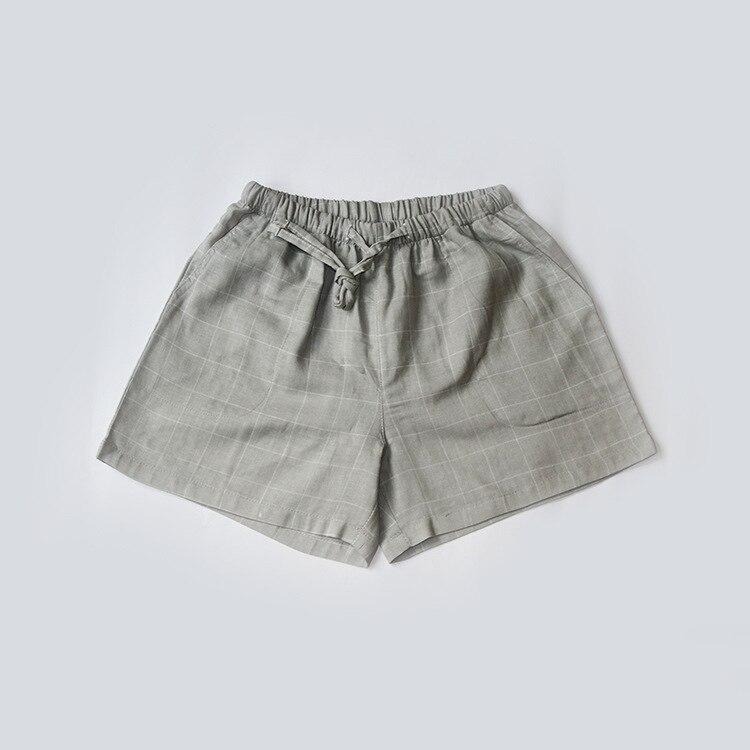 Летние женские Пижамные шорты, хлопковые газовые пижамы, штаны с принтом, штаны для сна, одежда для сна, женская одежда для сна - Цвет: Plaid gray