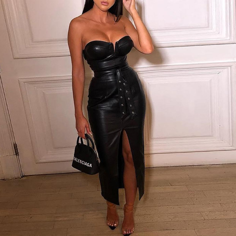 Hot Sale Black Pu Leather backless bodycon dress with belt Women Sexy Strapless Party vestidos