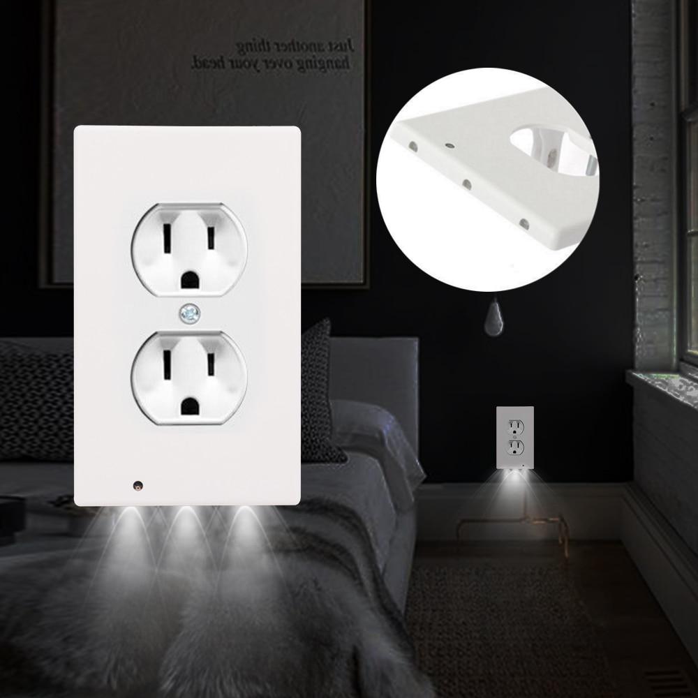 Sensor Night Light Outlet 110V 120V Induction Led Wall Lamp Duplex Plate Cover With Ambient Light Sensor Wall Nightlight 1-10pcs